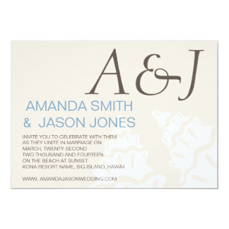 BLUE BROWN MODERN INITIALS BEACH WEDDING PERSONALIZED ANNOUNCEMENT