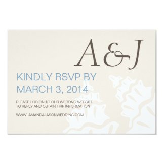 BLUE BROWN MODERN INITIALS BEACH WEDDING RSVP PERSONALIZED ANNOUNCEMENT