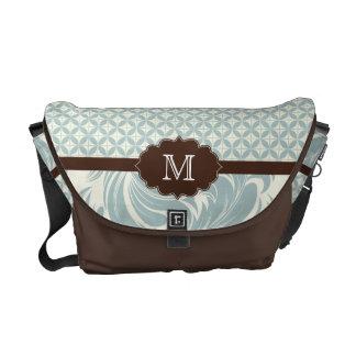 Blue brown modern monogram Rickshaw messenger bag