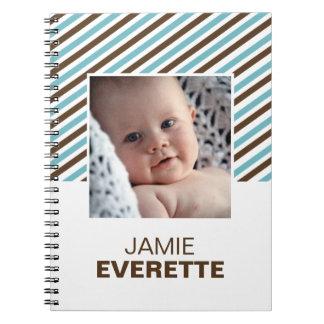 Blue brown modern stripes custom photo journal spiral note book