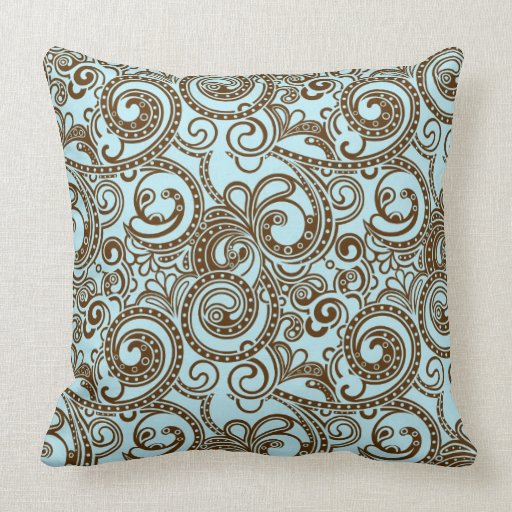 Blue & Brown Ornate Abstract Swirls Pattern Throw Pillows Zazzle