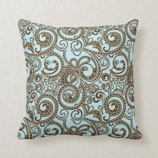 Blue & Brown Ornate Abstract Swirls Pattern Throw Pillow