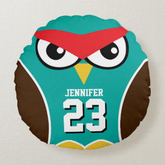 Blue Brown Owl Bird Cartoon Sports Team Pillow