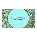 Blue & Brown Paisley Retro Pattern-Template Business Card