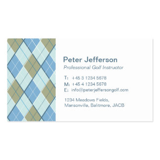 Blue brown pattern Golf instructor business cards