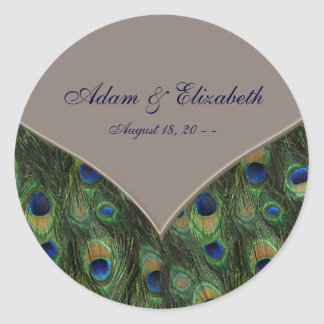 Blue Brown Peacock Wedding Favor Label Classic Round Sticker