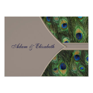 Blue Brown Peacock Wedding Invitations