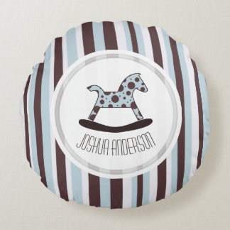 Blue & Brown Personalized Rocking Horse Pillow Round Pillow