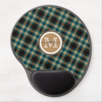 Blue Brown Plaid Monogram Gel Mouse Pad