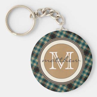 Blue Brown Plaid Monogram Keychain