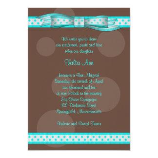 Blue Brown Polka Dot Ribbon Bat Mitzvah Invitation