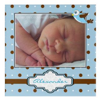 Blue, brown polka dots and birdie baby boy photo acrylic wall art