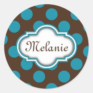 Blue Brown Polka Dots Quatrefoil Nameplate Classic Round Sticker