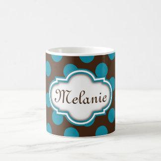 Blue Brown Polka Dots Quatrefoil Nameplate Coffee Mug