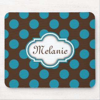 Blue Brown Polka Dots Quatrefoil Nameplate Mouse Pad