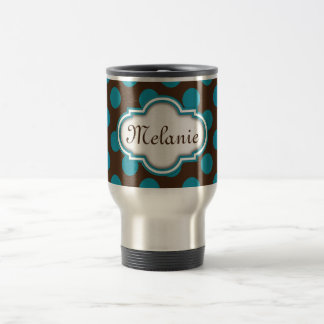 Blue Brown Polka Dots Quatrefoil Nameplate Travel Mug