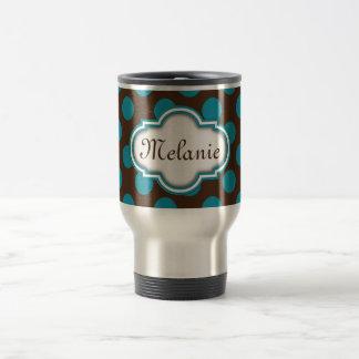 Blue Brown Polka Dots Quatrefoil Nameplate Travel Mug