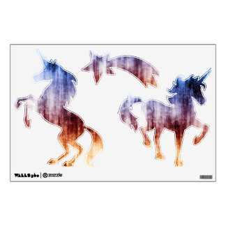 Blue, Brown & Purple Abstract Wash Wall Sticker