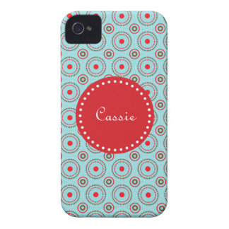 Blue Brown & Red Circle Design, name. iPhone 4/4s iPhone 4 Case