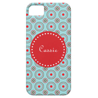 Blue Brown & Red Circle Design, name. iPhone 5 iPhone SE/5/5s Case