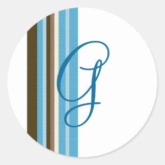 Blue & Brown Ribbons Monogram (Customizable) Classic Round Sticker
