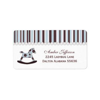 Blue & Brown Rocking Horse Address Labels