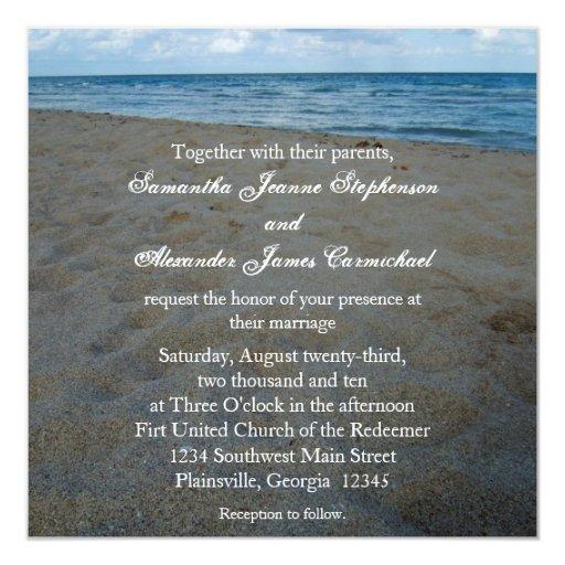 Blue+Brown Sands Beach Wedding Invitations