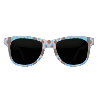 Blue Brown shapes pattern Sunglasses