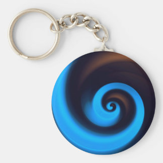 Blue Brown Spiral Cute Cool Modern Abstract Art Basic Round Button Keychain