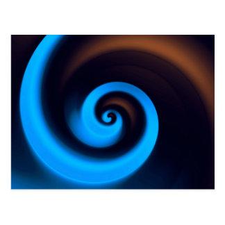 Blue Brown Spiral Cute Cool Modern Abstract Art Postcard