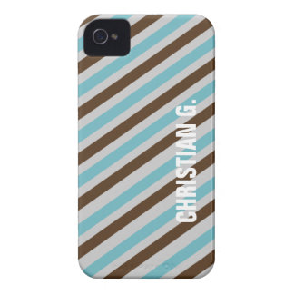 Blue brown stripe pattern custom name personal Case-Mate iPhone 4 case