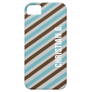 Blue brown stripe pattern custom name personal iPhone SE/5/5s case