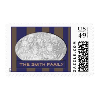 Blue brown striped photo frame postage stamps