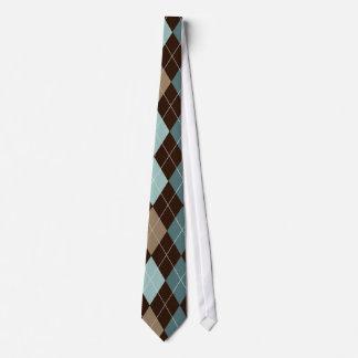 Blue/Brown Stylish Argyle Tie