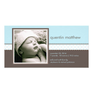 Blue | Brown Sweet Baby Boy Birth Announcement Photo Card