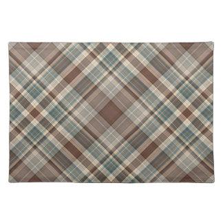 Blue brown tartan check cloth place mat
