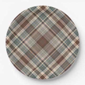 Blue brown tartan check 9 inch paper plate