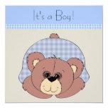 Blue Brown Teddy Bear Baby Boy Shower Personalized Announcements
