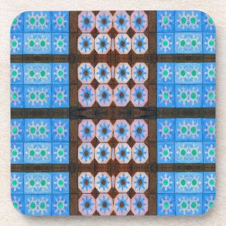 blue brown tile pattern beverage coaster