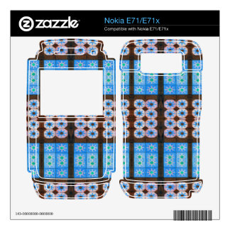 Blue brown tile pattern decal for nokia e71x