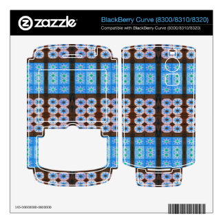 Blue brown tile pattern BlackBerry decal