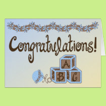 Blue & Brown Toys Baby Boy Congratulations Card