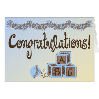 Blue & Brown Toys Baby Boy Congratulations Card