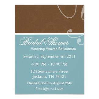 Blue & Brown Vintage Bridal Shower Invitations