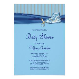 Blue Brown Vintage Shoe Boy Baby Shower Card