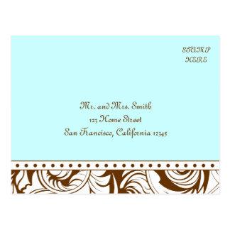 Blue Brown Vintage Wedding Postcard RSVP