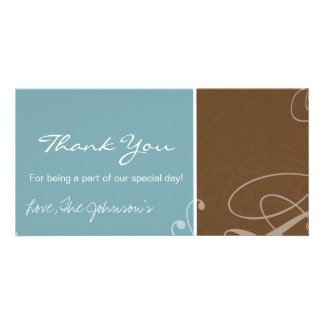 Blue & Brown Vintage Wedding Thank You Photo Cards