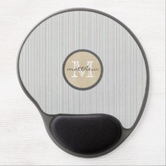 blue brown white Pin Stripe Monogram Gel Mouse Pad
