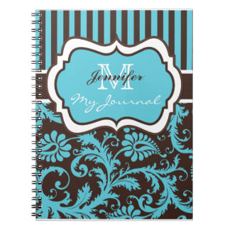 Blue Brown White Striped Damask Journal Notebook