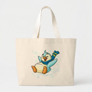 Blue Bruce sliding across ice Large Tote Bag